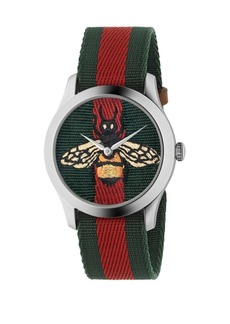 Gucci Bee Stainless Steel and Striped Nylon Strap Watch