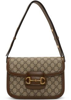 Gucci Beige & Brown GG Supreme 1955 Horsebit Shoulder Bag