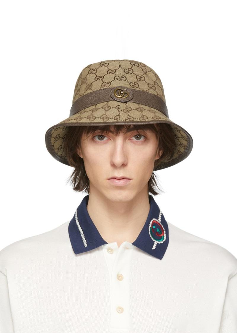 Gucci Beige & Brown GG Supreme Bucket Hat
