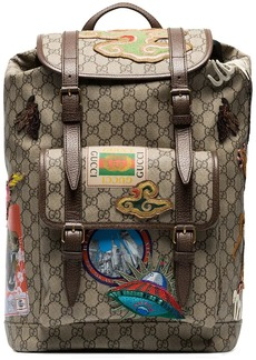 Gucci beige and brown GG multi-patch backpack
