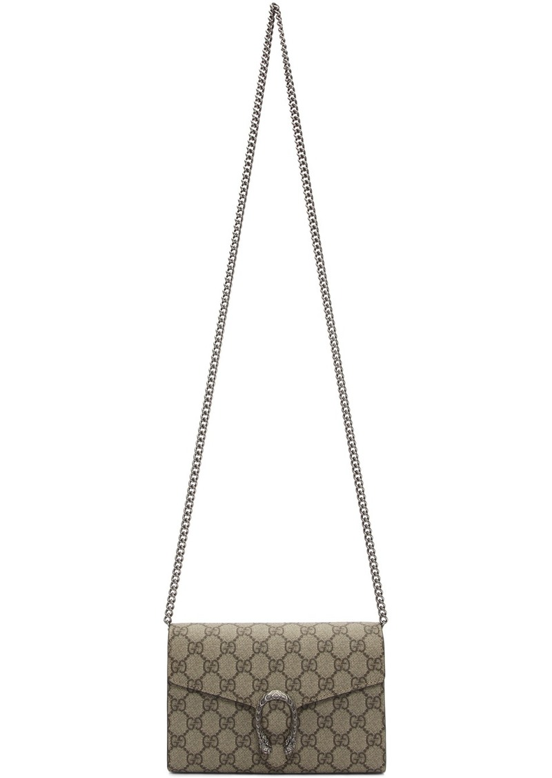 Gucci Beige GG Supreme Dionysus Chain Wallet Bag