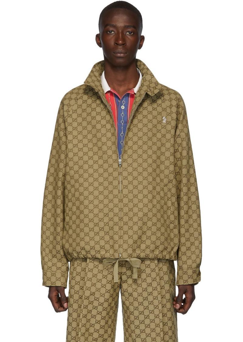 Gucci Beige GG Zip-Up Jacket