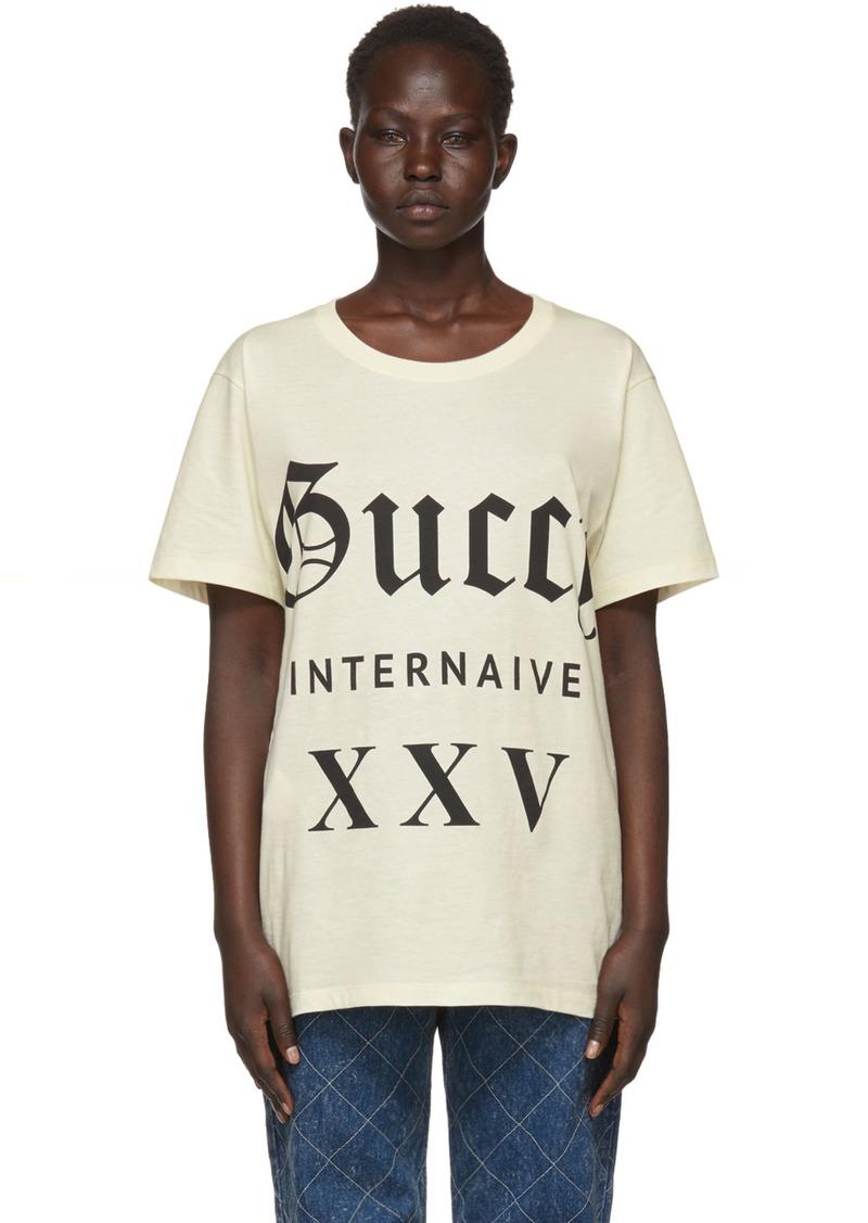 e3d57d7a Gucci Beige 'Guccy Internaive XXV' T-Shirt | Tees