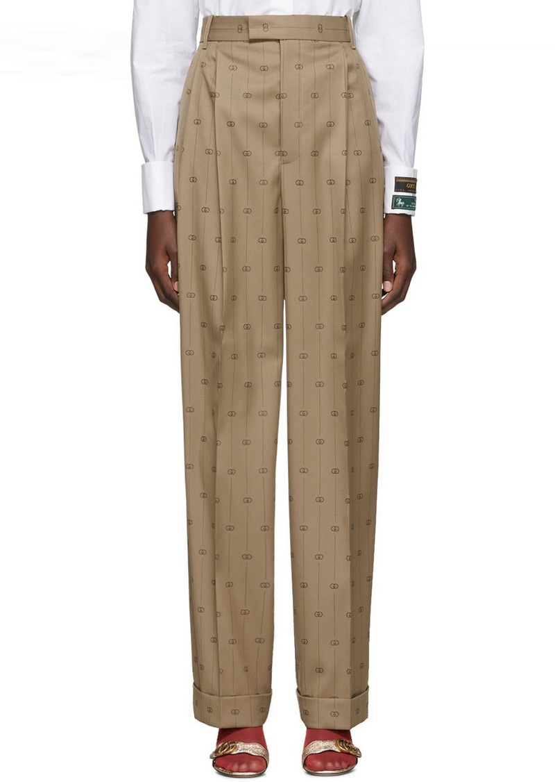 Gucci Beige Pinstripe GG Trousers