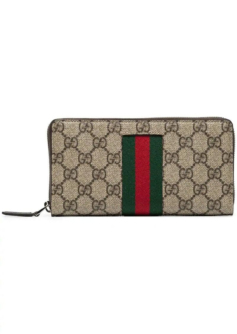 Gucci beige Web GG Supreme zip around wallet