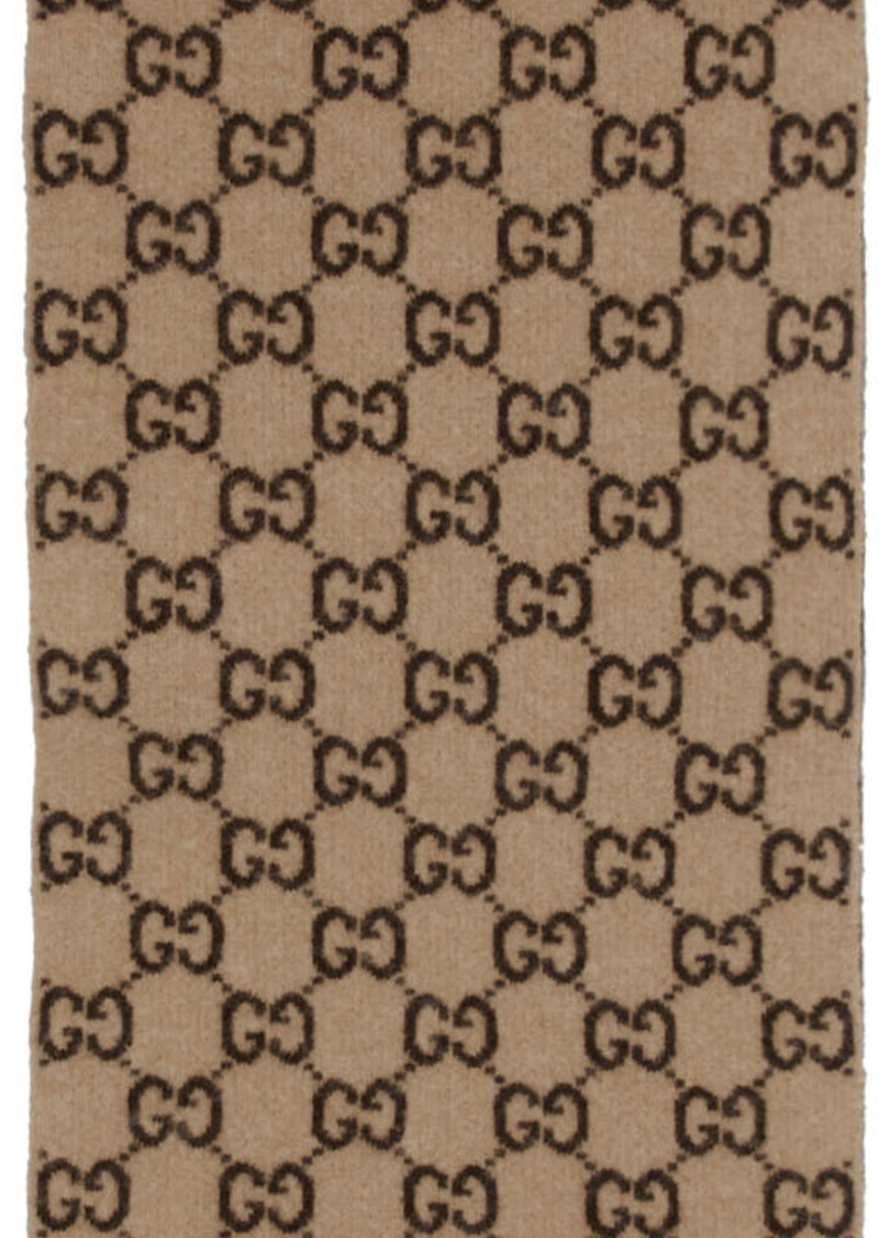 Gucci Beige Wool GG Scarf