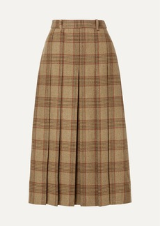 Gucci Belted Checked Wool Midi Skirt