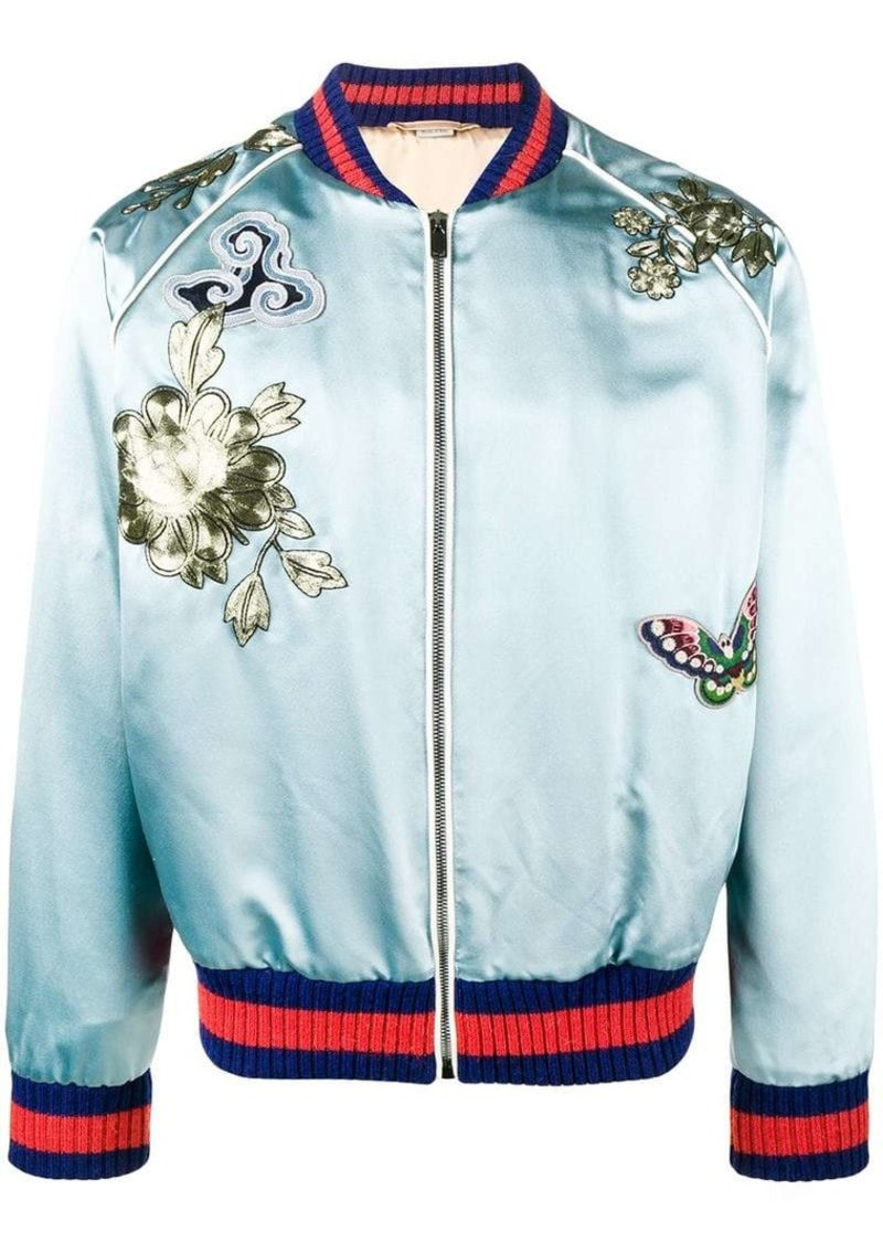 13f86d4bd bird embroidered bomber jacket