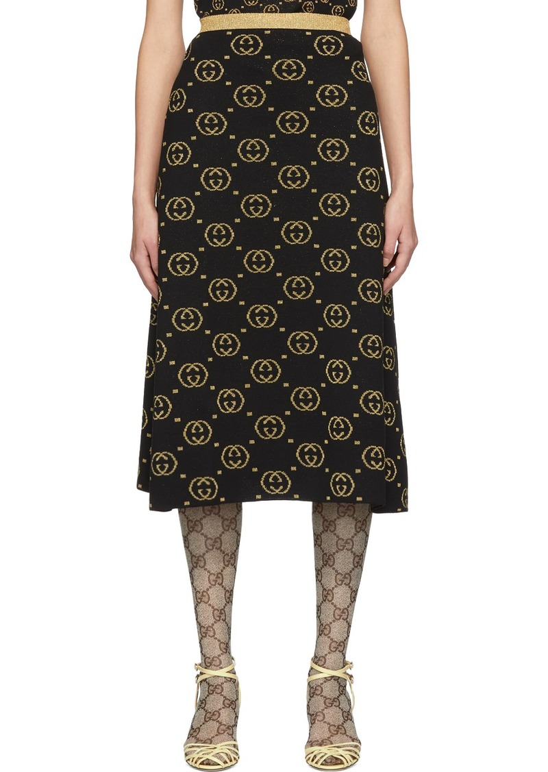 Gucci Black & Gold Wool GG Skirt