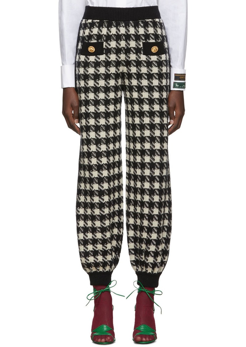 Gucci Black & Off-White Houndstooth Lounge Pants
