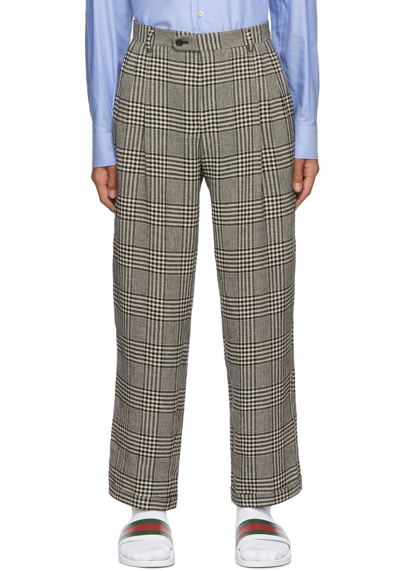 Gucci Black & Off-White Prince Of Wales Trousers