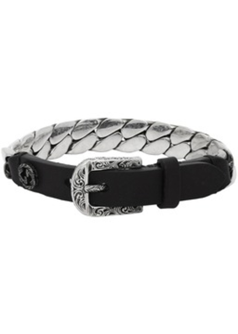 Black & Silver Small 'Gucci Garden' Bracelet