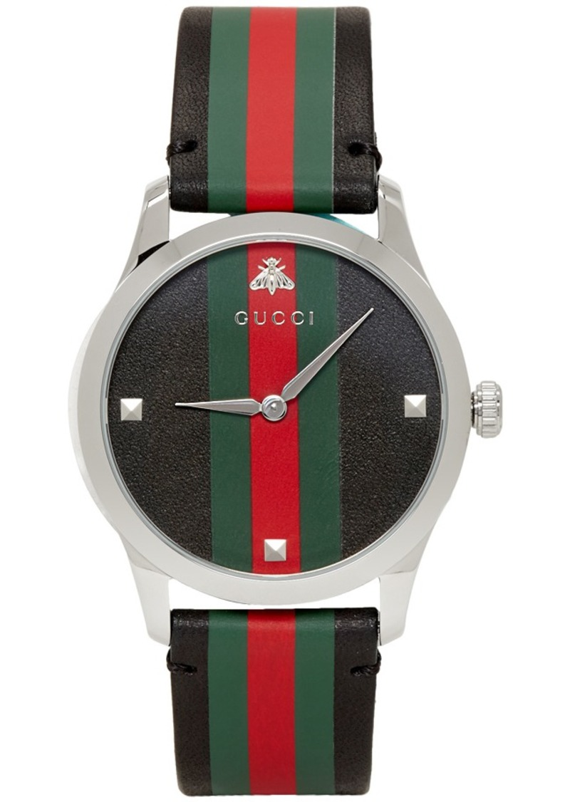 Gucci Black & Silver Striped Leather G-Timeless Watch