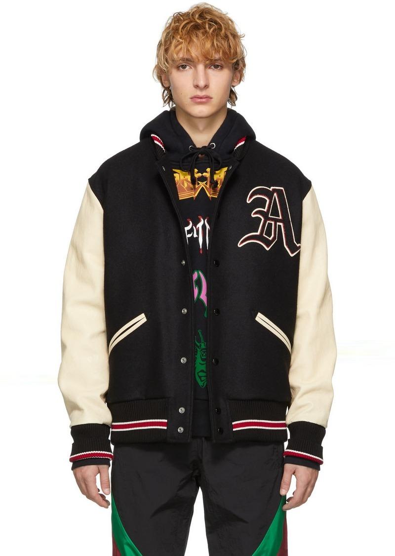 Gucci Black & White Patch Bomber Jacket