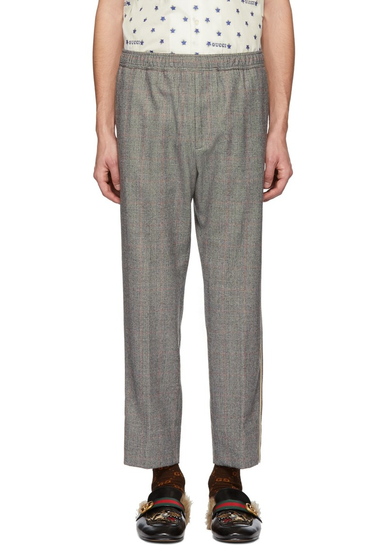 Gucci Black & White Wool Flannel Trousers