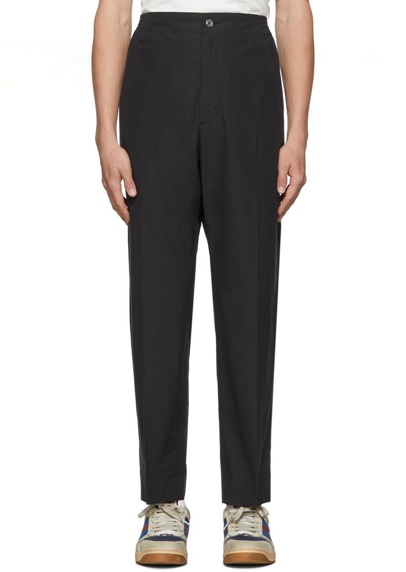 Gucci Black Cotton Poplin Logo Trousers