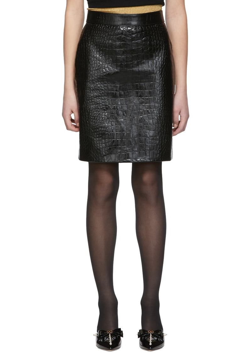 Gucci Black Croc Leather Miniskirt
