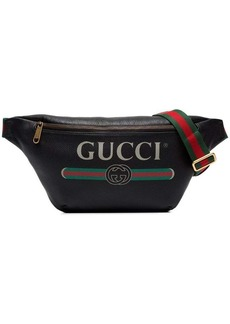 Gucci black fake logo print leather cross-body bag