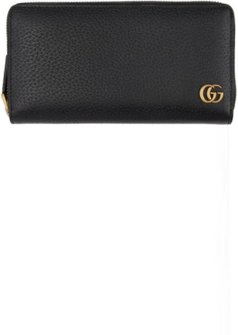 Gucci Black GG Marmont Zip-Around Wallet