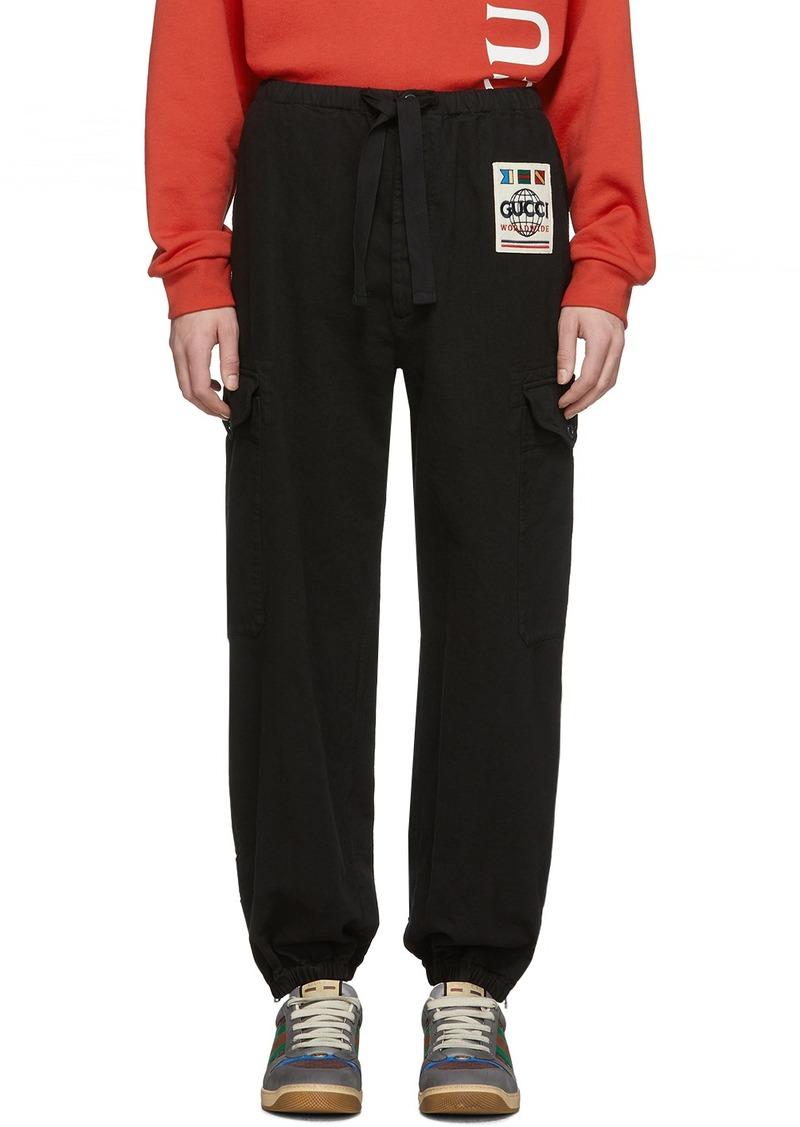 Gucci Black Herringbone Cargo Trousers