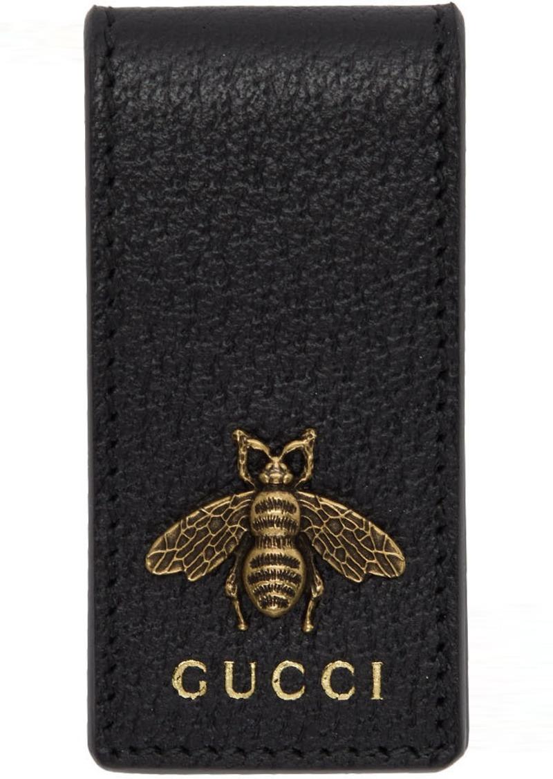 Gucci Black Leather Animalier Money Clip