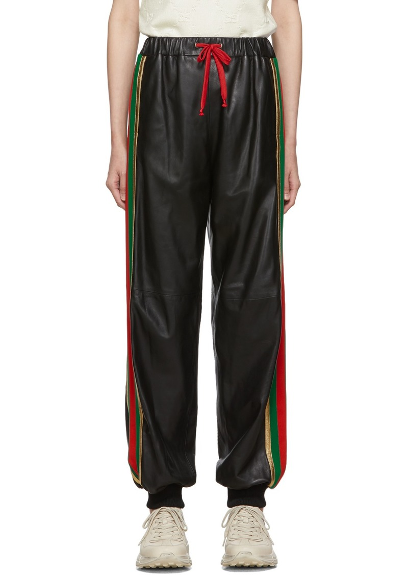 Gucci Black Leather Lounge Pants