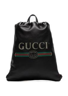 Gucci logo print leather drawstring backpack