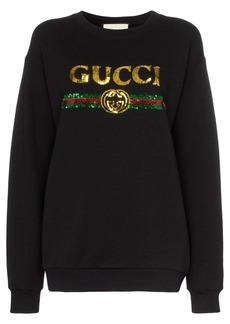 Gucci black sequin-embellished cotton sweatshirt
