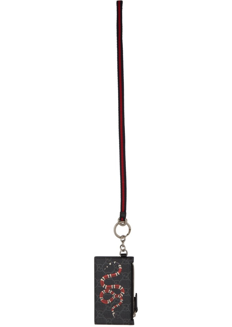 Gucci Black Snake Zip Card Holder