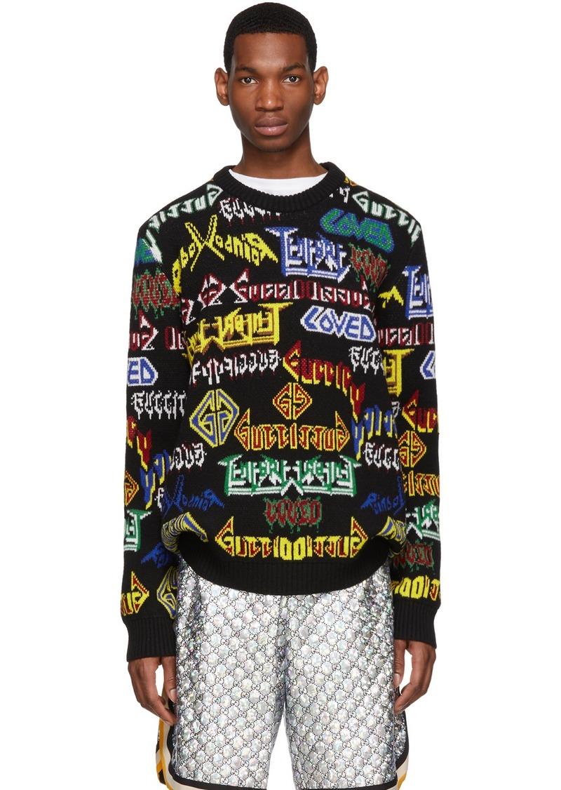 Gucci Black Wool Metal Mix Sweater