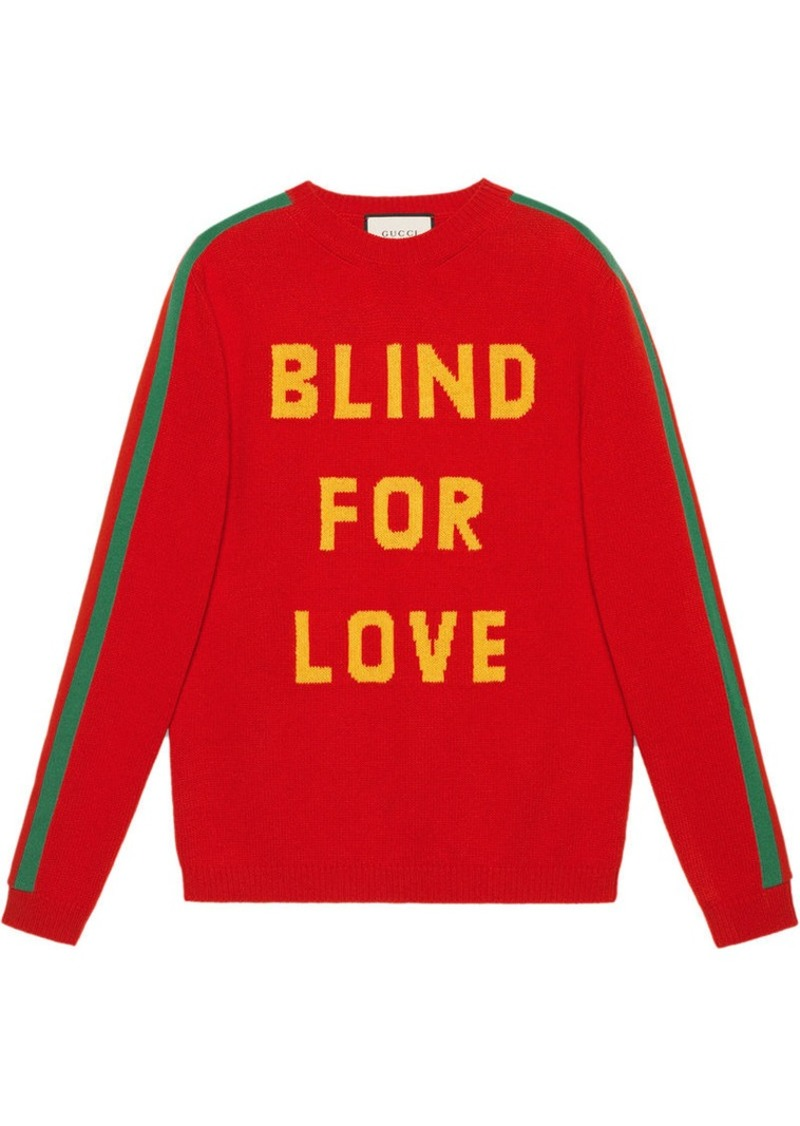 "91993109c42 Gucci ""Blind for Love"" and bee wool sweater. """