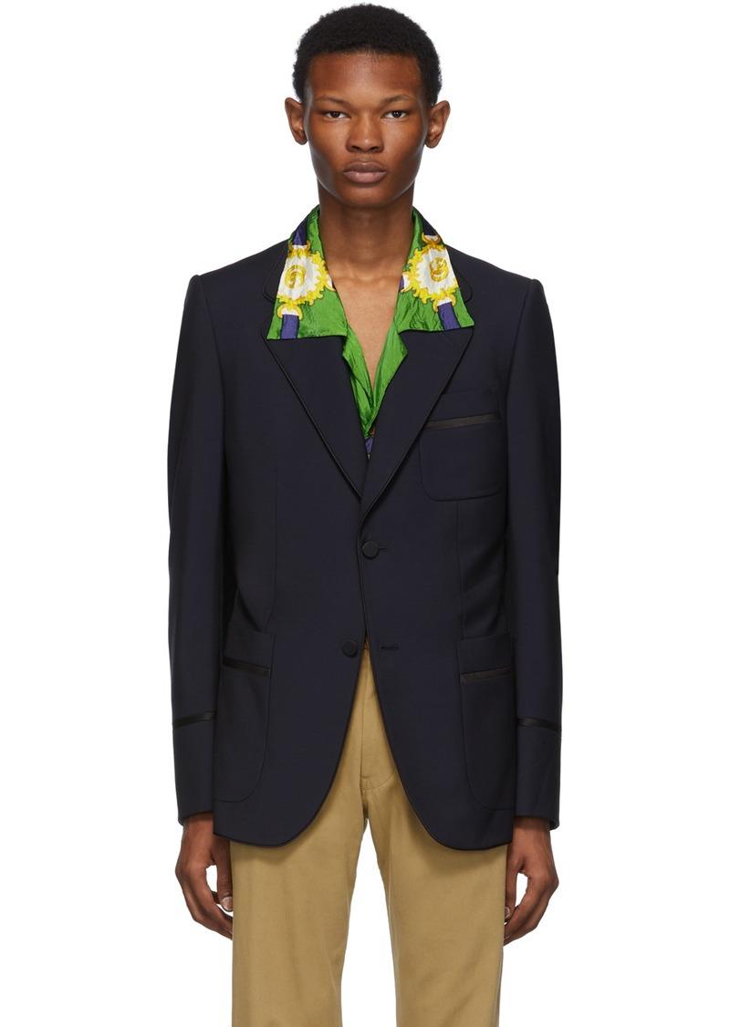 Gucci Blue & Black Satin Piping Blazer