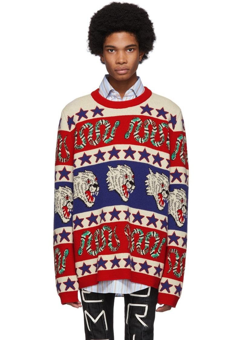Gucci Blue & Red Jacquard Symbols Sweater