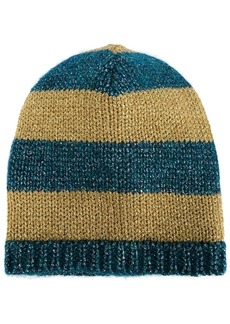 Gucci blue and mustard yellow striped knit beanie