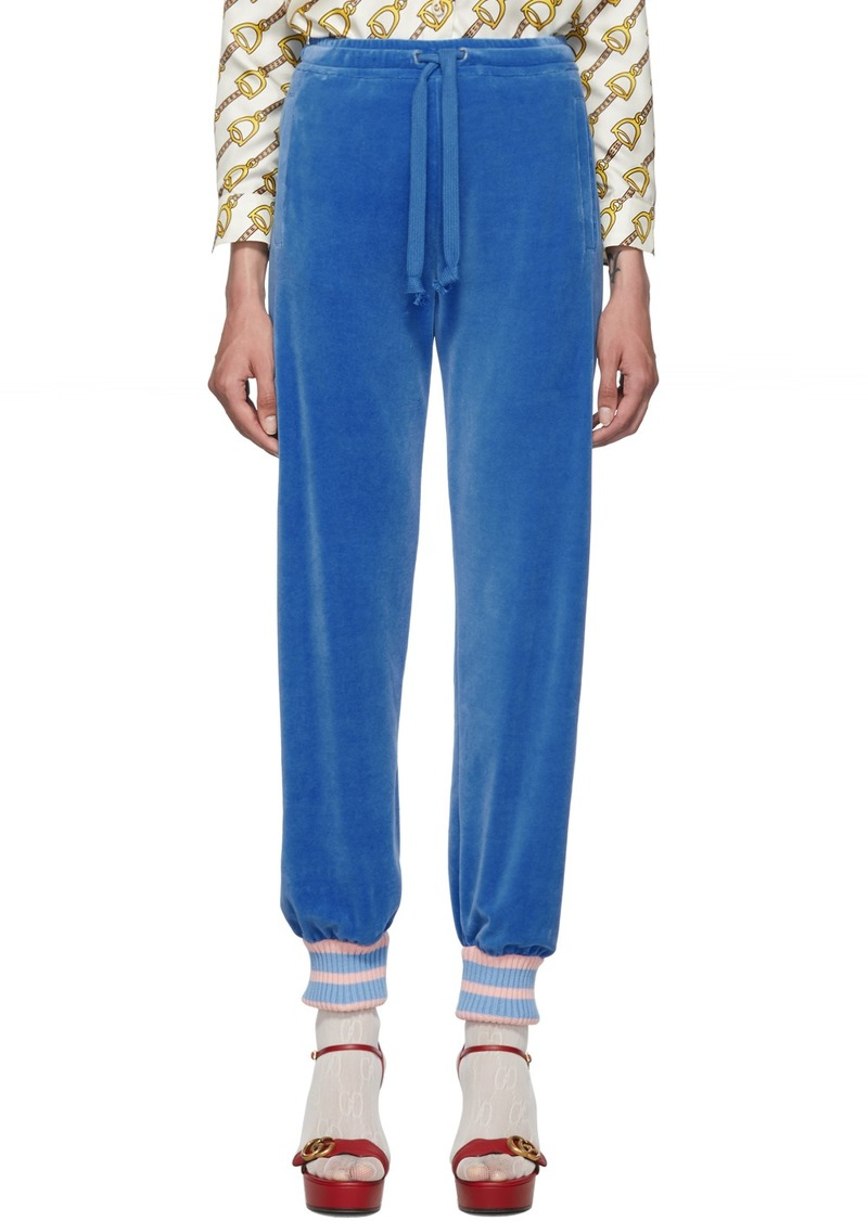 Gucci Blue Chenille Lounge Pants
