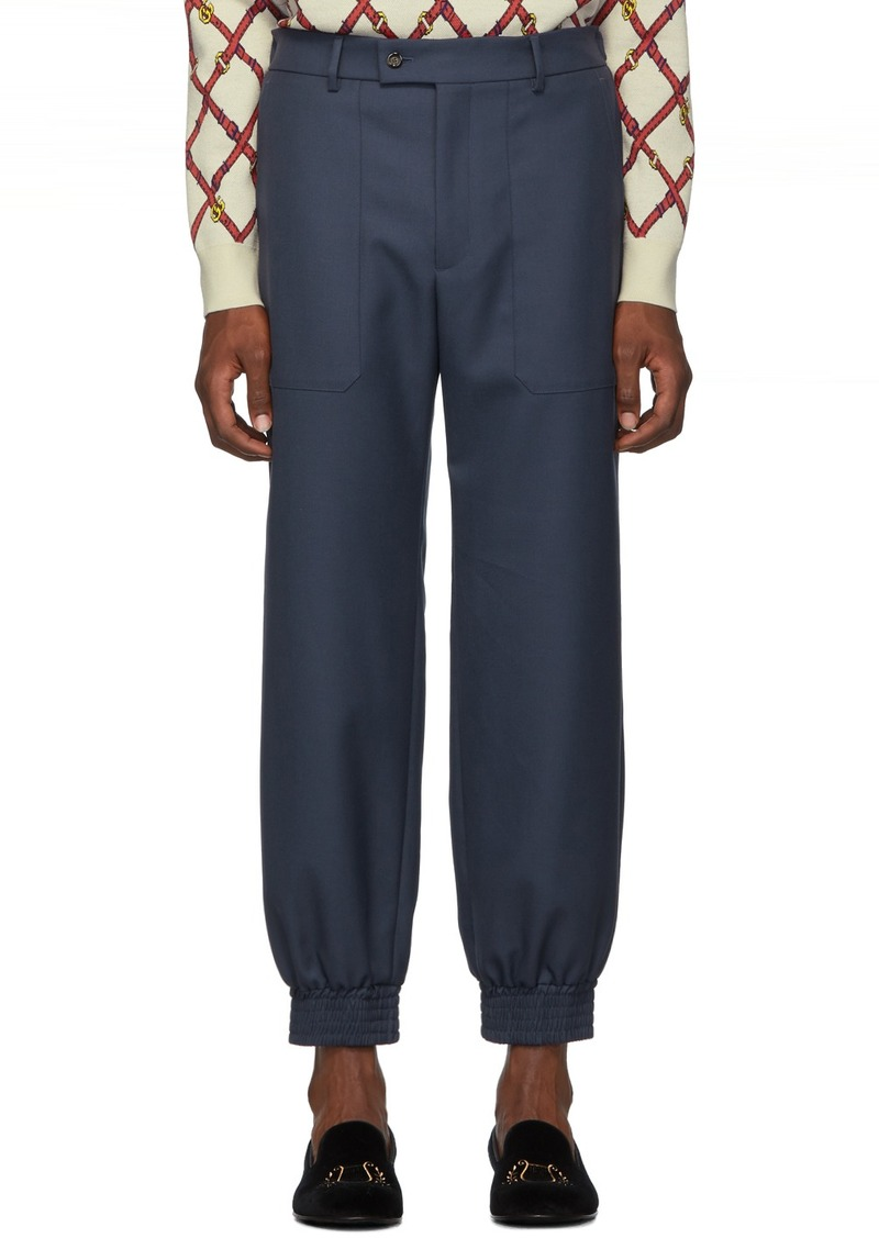 Gucci Blue Drill Patch Pocket Military Trousers