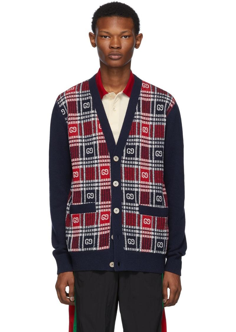 Gucci Blue GG Check Cardigan