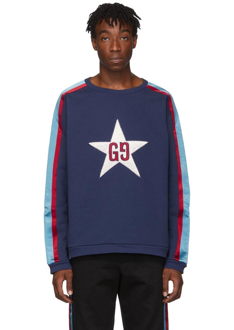 Gucci Blue GG Star Patch Sweatshirt