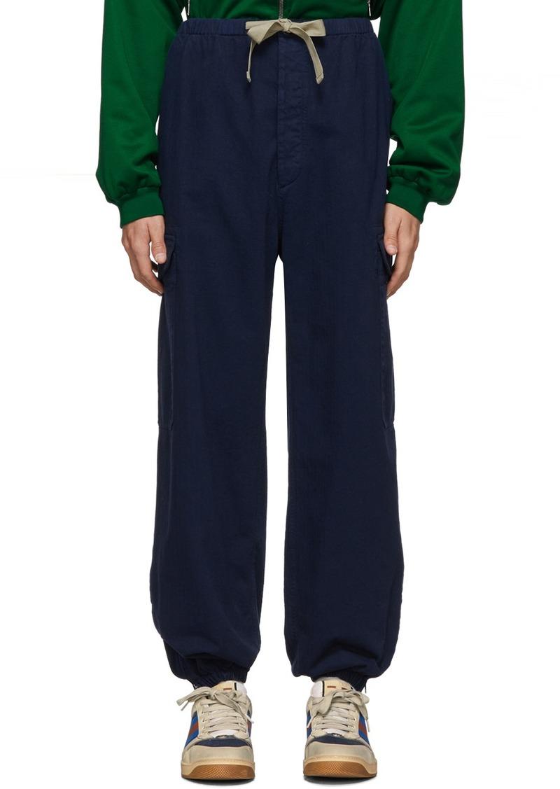 Gucci Blue Herringbone Cargo Pants