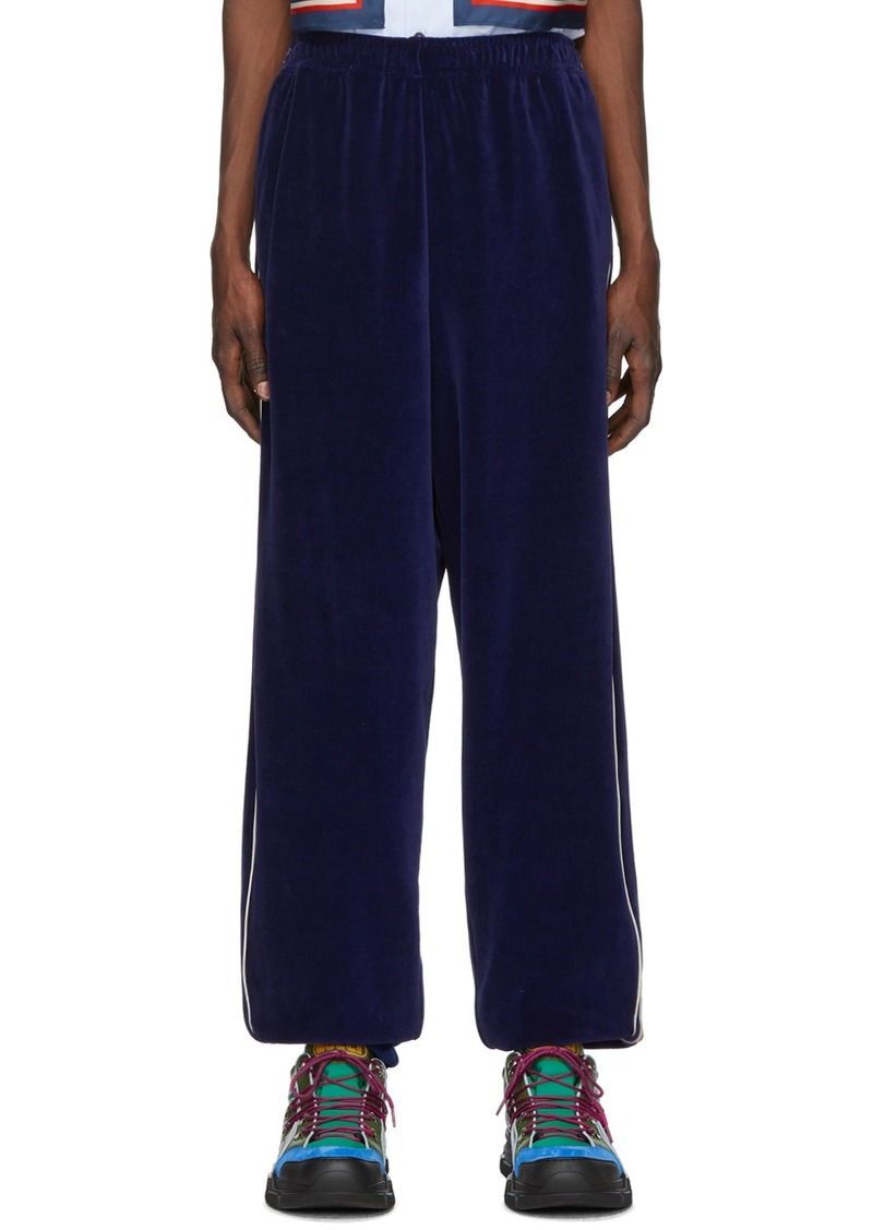 Gucci Blue Loose Chenille Lounge Pants