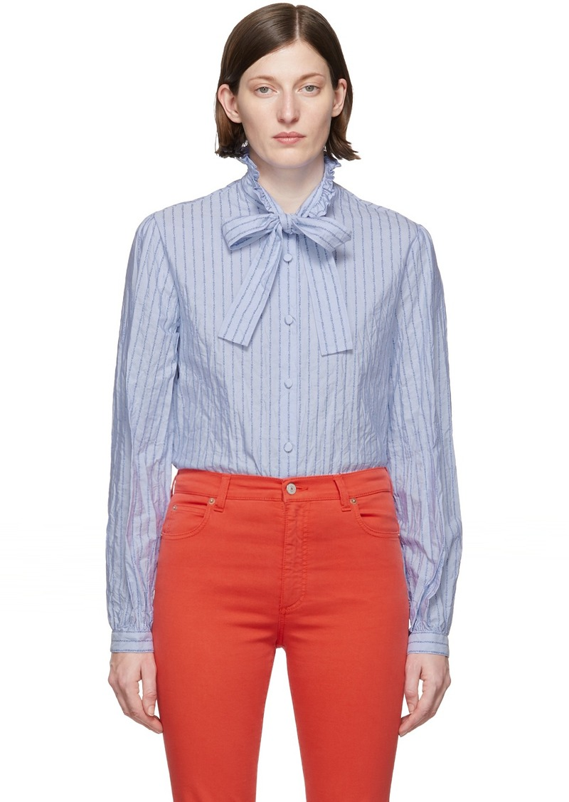 Gucci Blue Poplin Bow Shirt