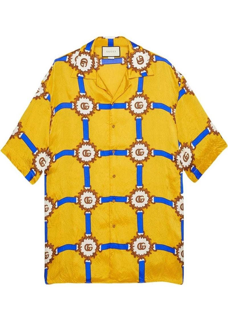Gucci Bowling shirt with GG harness print