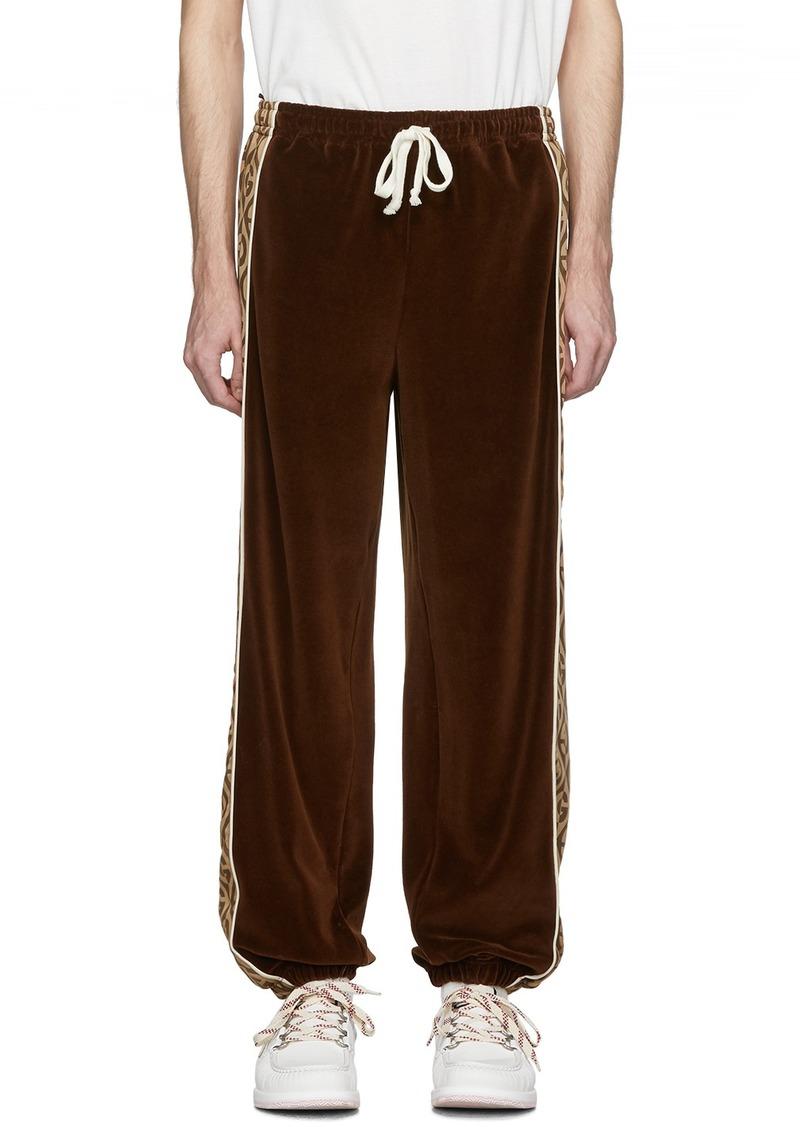 Gucci Brown & Beige G Rhombus Velvet Track Pants
