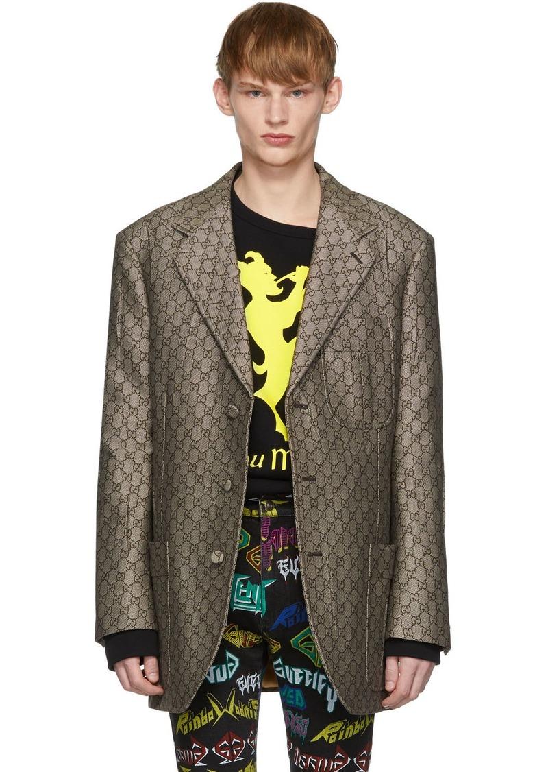 Gucci Brown & White GG Supreme Wool Blazer