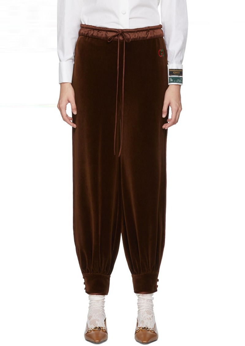 Gucci Brown Chenille Jogging Lounge Pants