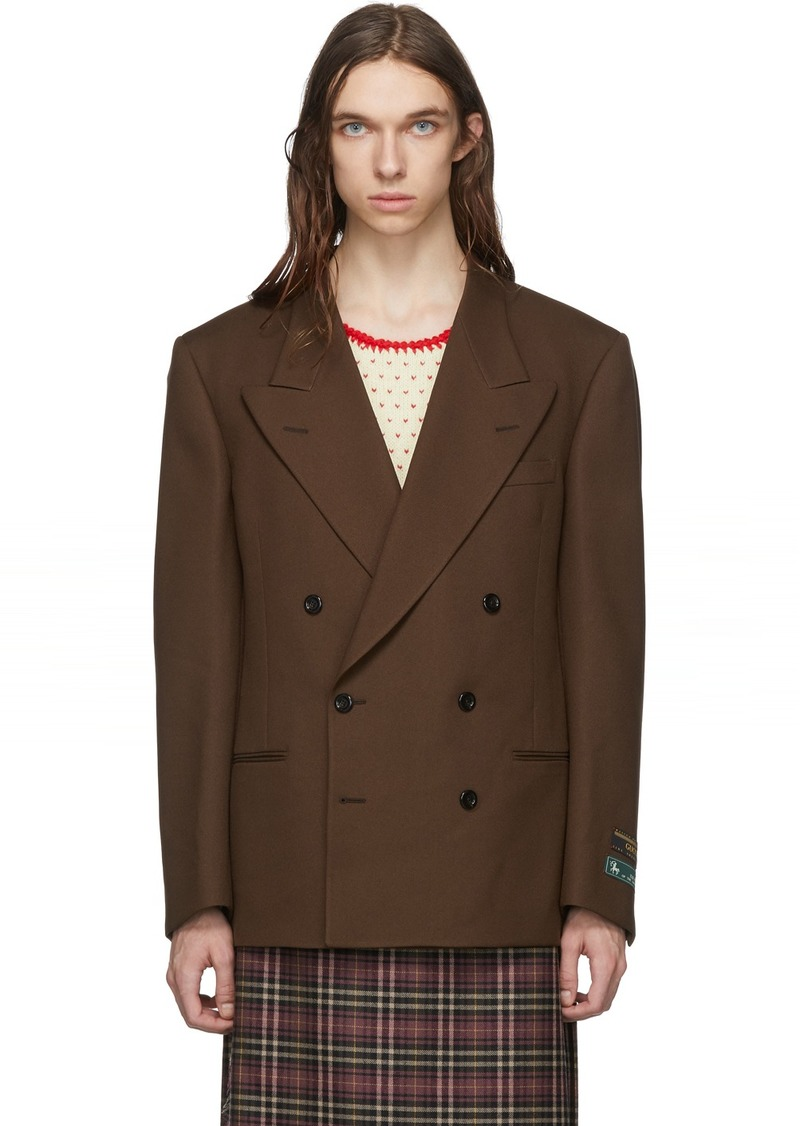 Gucci Brown Double-Breasted Fluid Blazer