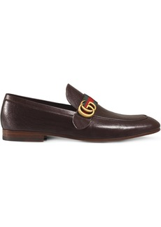 Gucci Brown GG Web Leather loafers