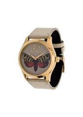 Gucci butterfly embroidered leather watch