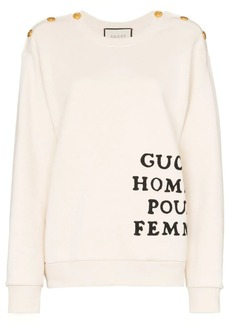 Gucci buttoned shoulder embroidered cotton jumper