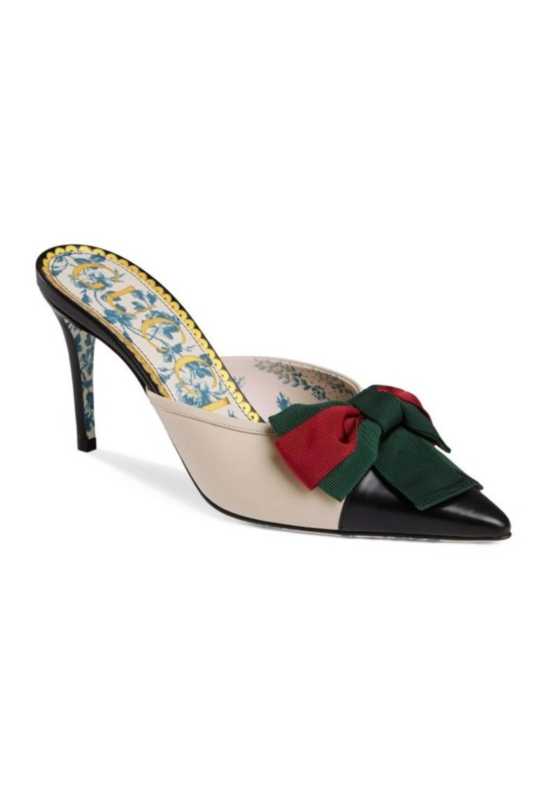 f11574ea5 Gucci Leather Web Bow Mid-Heel Slides | Shoes